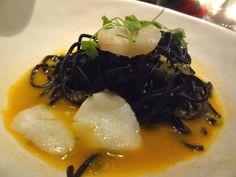 Jamie Oliver's Restaurant (Sydney) - Black Angel Spaghetti - squid ink pasta, scallops, garlic, chilli, wine & capers