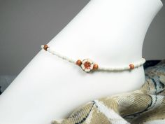 Beaded Anklets, Beaded Bracelets, Handcrafted Jewelry, Unique Jewelry, Summer Jewelry, Ankle Bracelets, Beaded Flowers, Wooden Beads, Czech Glass