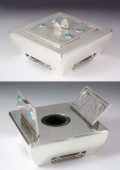 "cgmfindings:  ""Archibald Knox  Extremely rare silver inkwell with turquoise stones.  England c. 1903  """