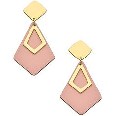Shlomit Ofir Jewelry Gold and Pink Formica Drop Earrings