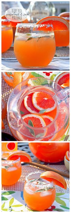Been so into grapefruit drinks lately! Ruby Red Grapefruit and Sage Paloma - The Cookie Rookie Party Drinks, Fun Drinks, Yummy Drinks, Cold Drinks, Beverages, Yummy Food, Summer Cocktails, Cocktail Drinks, Cocktail Recipes
