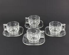 Joe Cesare Colombo Vintage Set of 4 Mugs Cups Saucers Coffee Tea Industrial Glass Design Arno Italora MCM Italian Modernist Italy