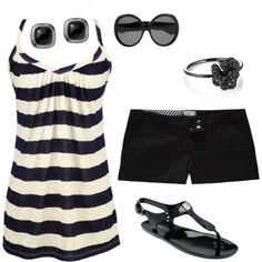 black stripes would look great for a day out shopping or on the beach