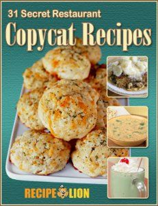 Find 31 of your favorite restaurant dishes in this free eCookbook. We have copycat recipes for restaurants like Cracker Barrel, Red Lobster, Panera, Applebee's and more!  There's even a recipe for a copycat McDonald's Shamrock Shake, so don't miss out. Get your free copy right here!