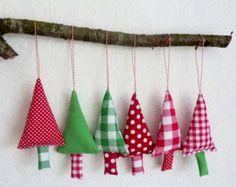 Kerstboom versiering kerst hangers stoffen kerstbomen