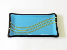 Blue Fused Glass Dish with Yellow Lines as a Butter Dish or for Chocolate Truffles, Trinkets or Tea Candles Fused Glass Plates, Fused Glass Art, Glass Dishes, Yellow Line, Tea Candles, Yellow Accents, Chocolate Truffles, Bottle Art, Stained Glass Windows
