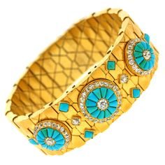 Antique Persian Turquoise Diamond Gold Bracelet | From a unique collection of vintage cuff bracelets at https://www.1stdibs.com/jewelry/bracelets/cuff-bracelets/