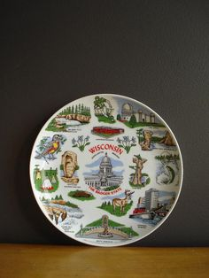 Wisconsin Love - Vintage State Souvenir Plate