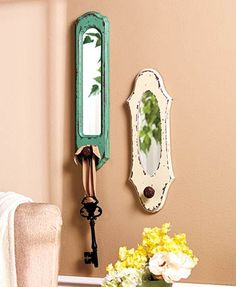 Vintage Wall Hook Mirror is room decor and a functional item in one. Use it to hold a towel, oven mitt and more. The mirror lets you have a final glance before stepping out the door. Its distressed finish blends easily with various decor styles.