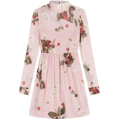 RED Valentino Printed Silk Dress ($875) ❤ liked on Polyvore featuring dresses, florals, floral print dress, pink print dress, floral pattern dress, pink floral dress and high neckline dress
