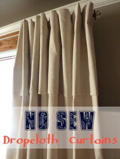 No-Sew Dropcloth Curtains with Faux Pinched Pleats