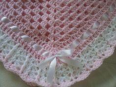 Crochet Baby Blanket Hat and Booties Pink and White Satin Satin Rose, White Satin, Girl Doll Clothes, Girl Dolls, Baby Blanket Crochet, Crochet Blankets, Crochet For Kids, Ribbon Bows, Crochet Flowers
