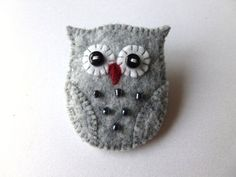Brooch Pin - Handmade - Silver Grey Felt Felt Owl Brooch Pin Handmade by SewJuneJones on Etsy, Owl Brooch Pin Handmade by SewJuneJones on Etsy, Felt Owls, Felt Birds, Felt Animals, Felt Christmas Decorations, Felt Christmas Ornaments, Felt Brooch, Brooch Pin, Felted Wool Crafts, Owl Crafts