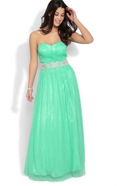 Strapless Long Prom Dress with Stone Trim Bodice and Soft Mesh Skirt