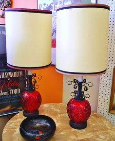 AMAZING, groovy red glass and black wrought iron vintage lamp pair, $85. Beyond the Valley of the Dolls! (SHERMAN OAKS) SOLD