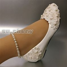 cheny White lace pearl anklet flowers wedge flats Wedding Bridal pumps shoes Wedge I believe that any issue can be solved by communication. Different country with different tariff rules. Disney Wedding Shoes, Blush Wedding Shoes, Wedge Wedding Shoes, Wedding Heels, Lace Wedding, Disney Shoes, Casual Wedding, Green Wedding, Rustic Wedding