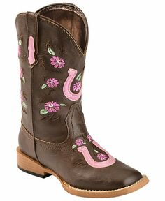 Roper Children's Metallic Horseshoe Applique Cowgirl Boots - Square Toe