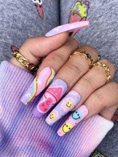 Purple Acrylic Nails, Best Acrylic Nails, Acrylic Nail Designs, Dope Nail Designs, Coral Nails, Different Nail Designs, Edgy Nails, Stylish Nails, Swag Nails