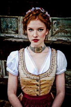 for-redheads, Lena Hoschek - DIRNDL A/W photographed by. Unique Hairstyles, Summer Hairstyles, Corsage, Feminine Mode, Dirndl Dress, Glamour, Folk Costume, Costumes, Up Girl