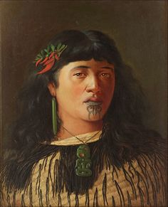 Portrait of a Young Maori Woman With Moko by Louis John Steele (1842-1918). Note the kaka beak flowers in her hair. Steele emigrated from England to New Zealand circa 1886 for health reasons and settled in Auckland, painting portraits, racehorses and scenes from history. One of his students was C.F. Goldie
