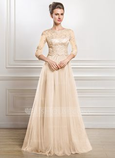 A-Line/Princess Scoop Neck Floor-Length Tulle Mother of the Bride Dress With Beading Appliques Lace Sequins (008056835) - JJsHouse