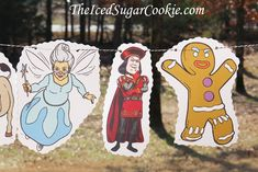 Shrek Birthday Party DIY Banner Idea-Princess Fiona, Donkey, Fairy Godmother, Lord Farquaad, Gingerbread Man, Puss In Boots