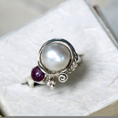 Pearl Engagement Ring Floral Romantic Vintage by mysticalCharm3, $125.00