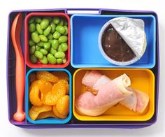 Pretzel Kabobs: Ham, turkey, and cheese rolled up together, sliced, and skewered with pretzel sticks; 1/2 cup mandarin oranges; 1/2 cup shelled edamame; 1 container (4 ounces) fat-free chocolate pudding from @Parents Magazine