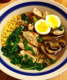 Took a package of Top Ramen and threw out the MSG-filled flavor packet, and cooked the noodles in real chicken broth with some garlic, onion powder, soy sauce, sriracha, etc. Added some fresh spinach as soon as the noodles were done, and let them naturally wilt in the hot broth Grilled up some chicken breast, and some mushrooms, threw it on top Threw in some corn kernels, and some chopped green onions Finished it off with a soft-boiled egg. Had never made one before (Nailed it.)