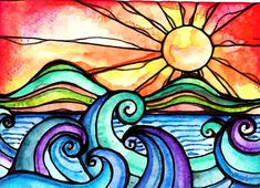 Wild Surf 5 x 7 print waves sun sunset ocean by RobinMeadDesigns