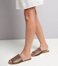 Wide Fit Rose Gold Leather Mules | New Look