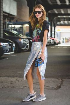 Street Style Anti-Resolutions Fashion Rules To Break Sequins aren't just for New Year's Eve, especially when paired with a graphic tee and sneakers.