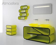 From Il Bagno Bandini comes the Atmosfera collection for those wanting to take a huge color leap in their bathroom. The ultra bright green/yellow color and the curved lines will never be boring. If this isn't your color, they have another version in bright orange too.