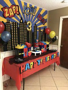 Cake table for batman Spider-Man superman superhero birthday party - Batman Party - Ideas of Batman Party - Cake table for batman Spider-Man superman superhero birthday party Superman Birthday Party, Avengers Birthday, Batman Party, Birthday Table, 3rd Birthday Parties, Birthday Party Decorations, Birthday Kids, Superhero Party Decorations, Spider Man Birthday
