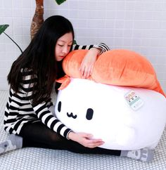 "Sushi 28"" SHRIMP Super Size Plush Throw Pillow Cushion Doll Bedding Cute Kawaii"