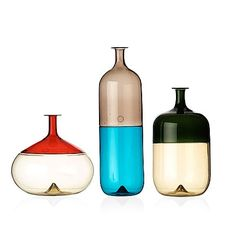 Tapio Wirkkala, a set of three bottle shaped vases, Venini, Italy - Bukowskis Glass Design, Design Art, Glass Ceramic, Glass Bottles, Glass Art, Old Things, Italy, Vase, Shapes