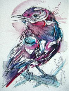 "Purple Scrub, India ink and watercolor, 5""x7"". By Abby Diamond. Love her work!"