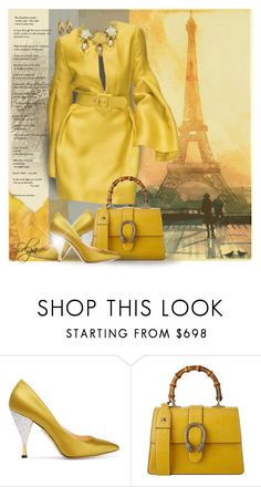 """""""Meet me in Paris"""" by olga1402 on Polyvore featuring Charlotte Olympia, Gucci, yellow, paris, party and afterdark"""