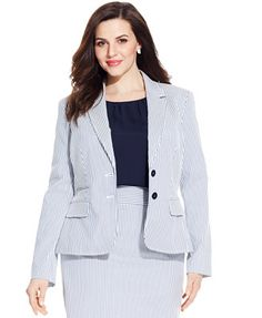 Nine West Plus Size Two-Button Seersucker Jacket