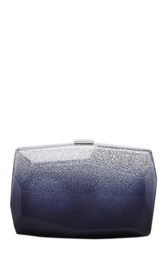 Cobalt and silver ombre Lucite faceted minaudiere. Top metal clasp with signature engraved. Geometric shaping gives light to sleek design. Silver Ombre, Leather Interior, Cocktail Dresses, Shop Now, Metal, How To Make, Metals, Cocktail Gowns