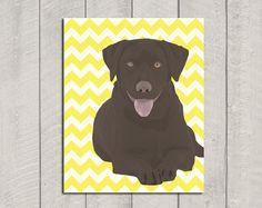 Chocolate Lab Art Print - Modern Dog Art - Chevron - 8x10. $15.00, via Etsy.