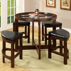 Furniture of America Corellia 5 Piece Counter Height Table Set - IDF-3321PT-5PK