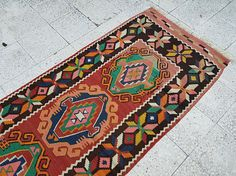 Pink Orange Color Hallway Kilim RUNNER Rug Vintage Handmade