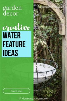 This list of DIY outdoor water features is the BEST! I have always wanted to have a bird bath in my garden. Now I know an easy way to make it. #fromhousetohome #gardenideas #fountain #diyprojects #landscapedesign #waterfeatures
