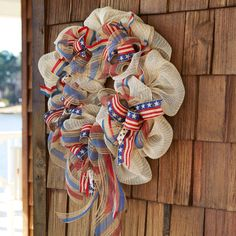 Bring a touch of rustic charm to your Patriotic celebrations and decor when you make this easy DIY Burlap/Mesh Wreath