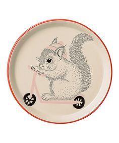 Squirrel Riding Scooter Ceramic Plate