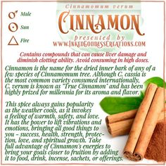 Well-known to the ancient Egyptians, Romans, and Greeks, even cultures as old as the Phoenicians revered this fiery spice. It was a precious gift fit only for royalty and the gods, and so coveted that its source was a close-kept secret. // #cinnamon #warmth #energy #fire #love #success #health #protection #growth #magick Astrological Elements, Kitchen Witchery, Higher Dose, Egyptians, Greeks, Magick, Cinnamon, Spices, Precious Gift