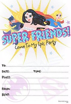 Justice league wonder woman batgirl supergirl (pack of 10) party invitations by Justice League, http://www.amazon.com/dp/B015UL46XA/ref=cm_sw_r_pi_dp_jz44wb0JEYBR9