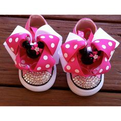 Minnie Mouse Swarovski Converse Infant/Toddler Size ($80) ❤ liked on Polyvore