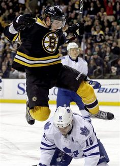 Tyler Seguin leapfrogging Clarke MacArthur on the way to a 4-2 victory by the Bruins over the Toronto Leafs. Seguin scored 2 goals in the game. (March 7, 2013)
